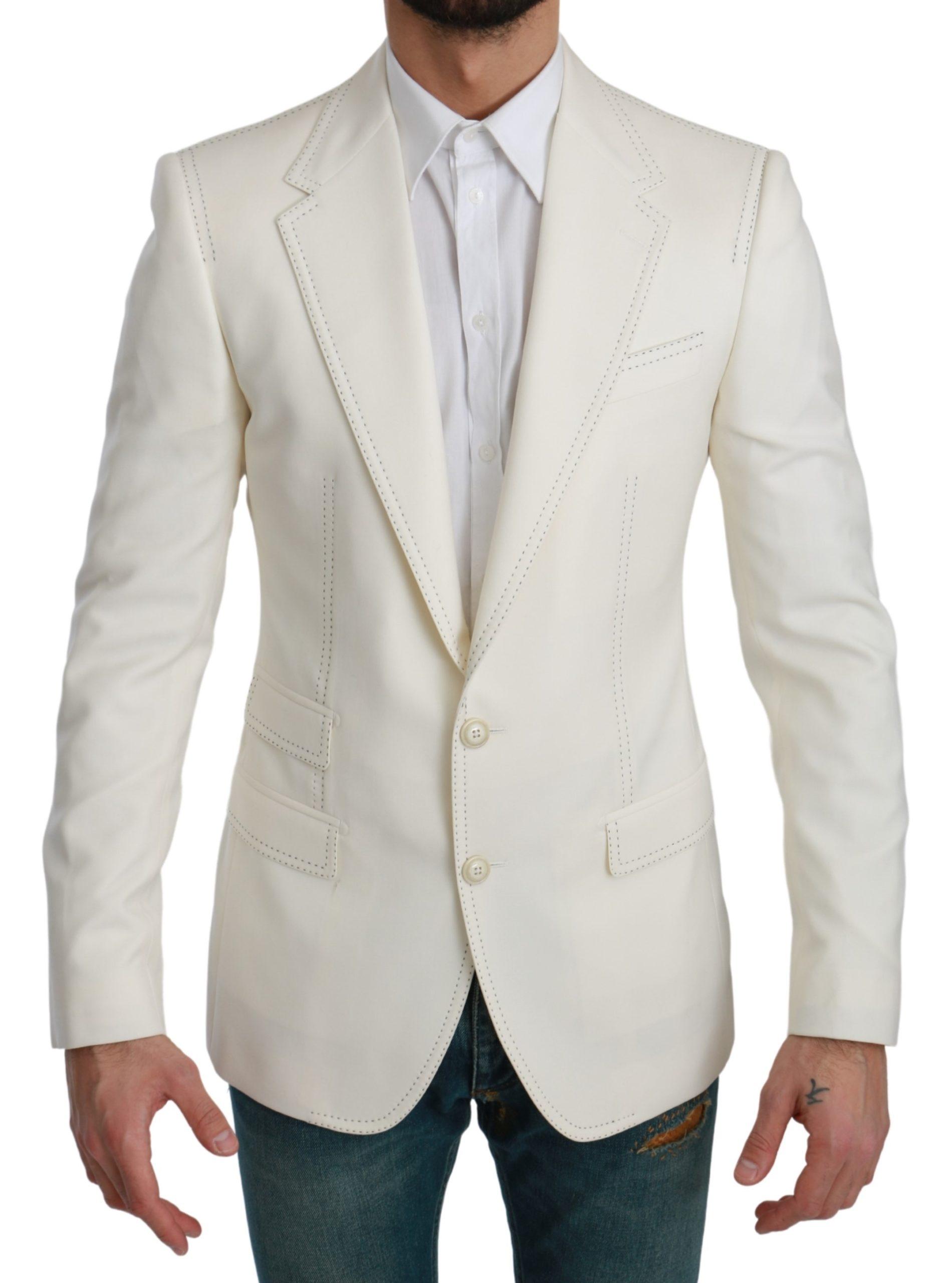 Dolce & Gabbana Men's Single Breasted Formal Blazer White KOS1708 - IT46   S