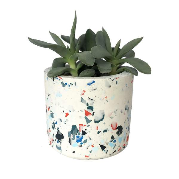 OUTLET Cylinder Terrazzo White-Blue Plant Pot