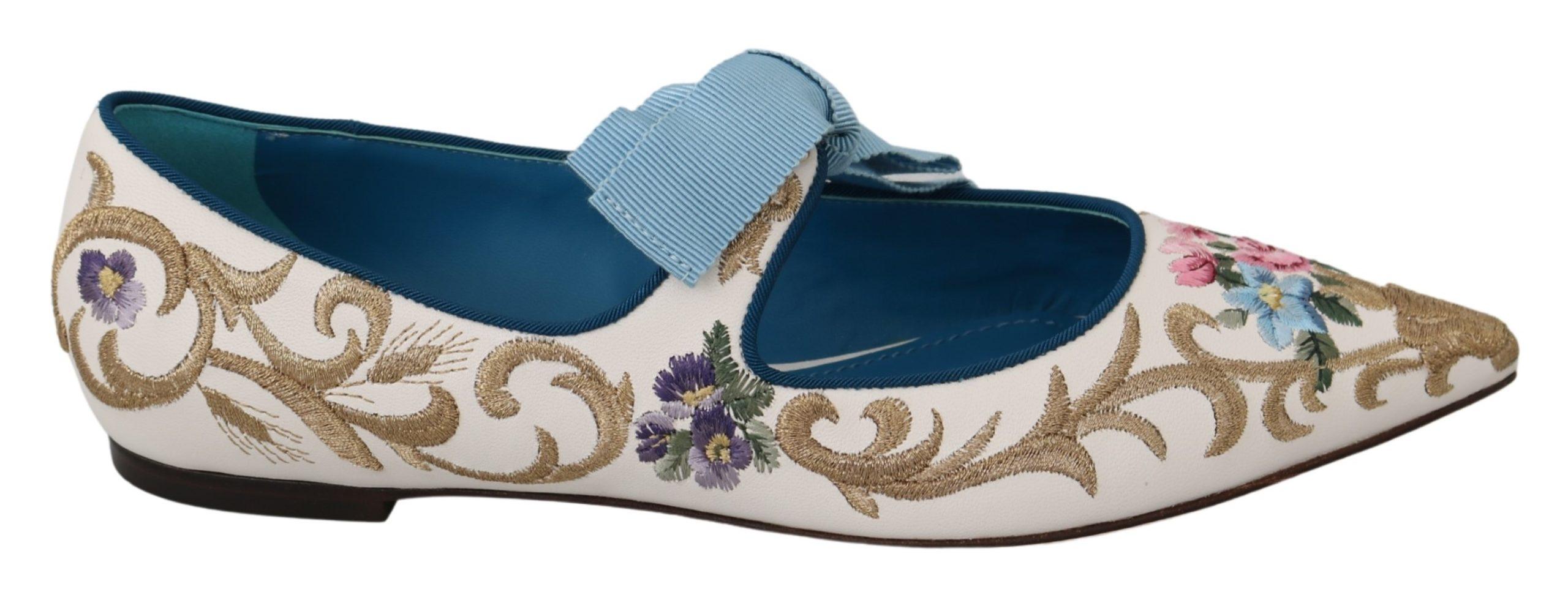 Dolce & Gabbana Women's Floral Ballerina Leather Flat Shoe White LA7037 - EU39/US8.5