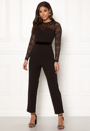 Happy Holly Anna lace tricot jumpsuit Black 44