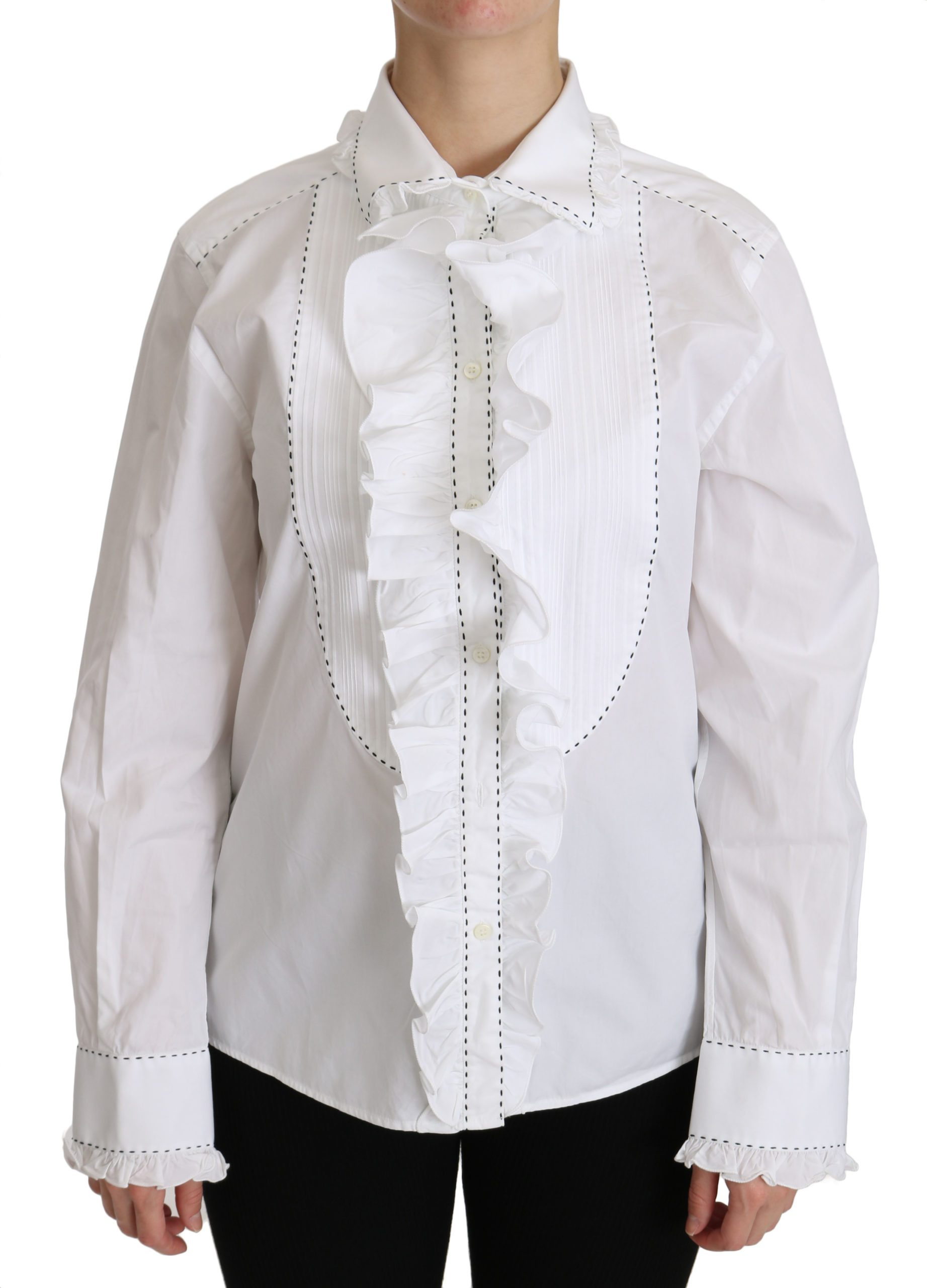 Dolce & Gabbana Women's Ruffle Collared Cotton Shirt White TSH4313 - IT42|M