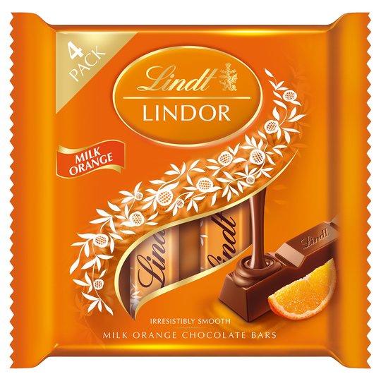 Lindor Milk Chocolate Orange Bars 100g