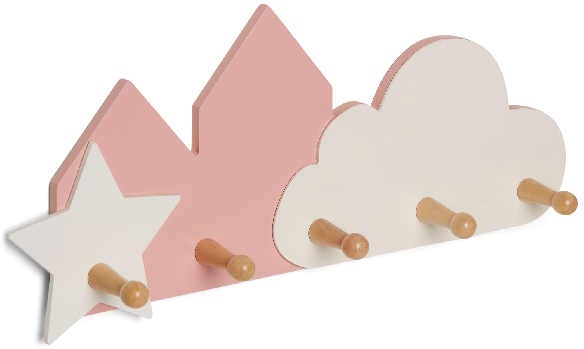 Alice & Fox Seinäkoukut Pilvi & Tähdet, Vaaleanpunainen
