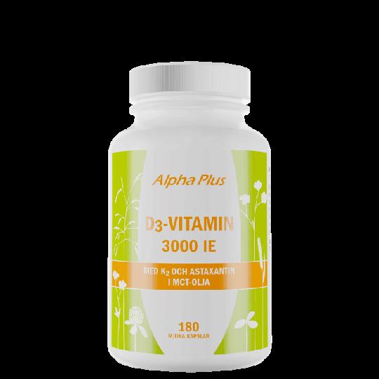 D3-vitamin 3000 IE + K2, 180 kapslar
