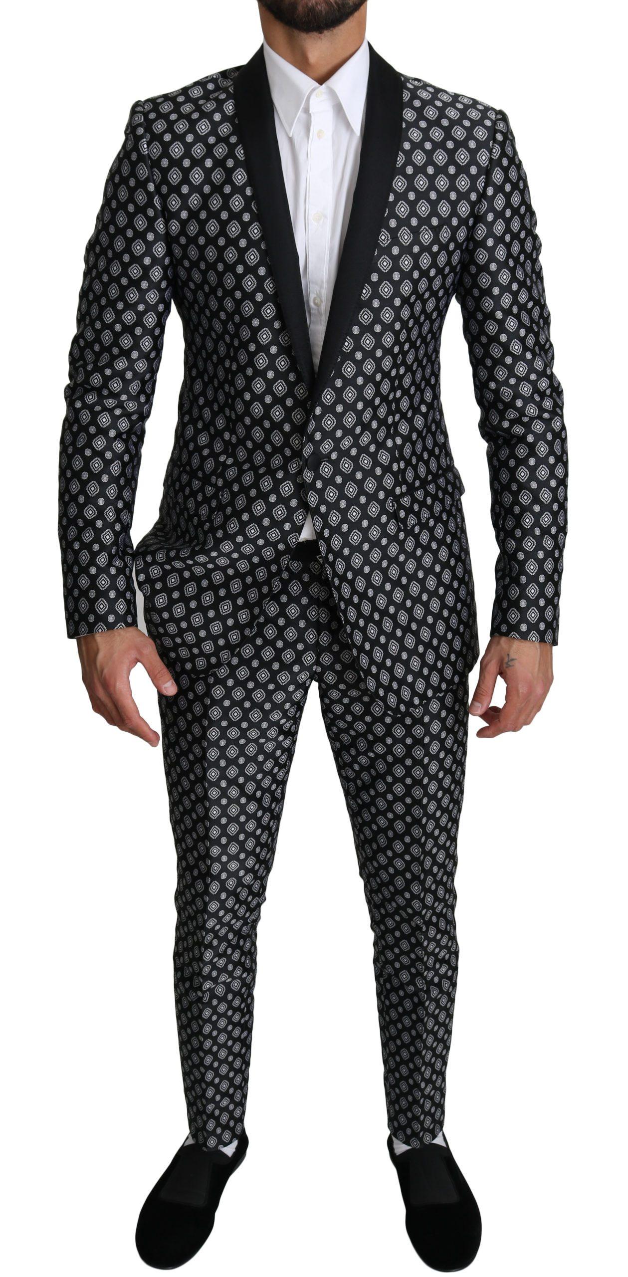 Dolce & Gabbana Men's Baroque 2 Piece Suit Gold Black KOS1533 - IT48 | M