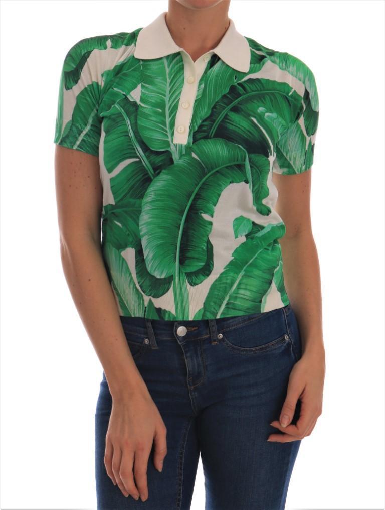 Dolce & Gabbana Women's Banana Leaf Polo Shirt White BGTSH1926 - IT38|XS