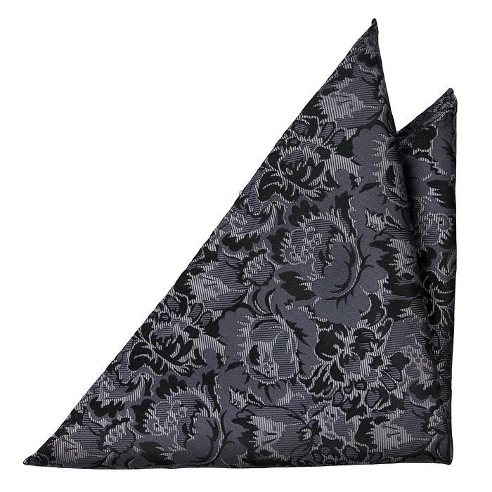 Silke Lommetørkler, Blommönster i ljusgrått, grått och svart, Grå, Blomster