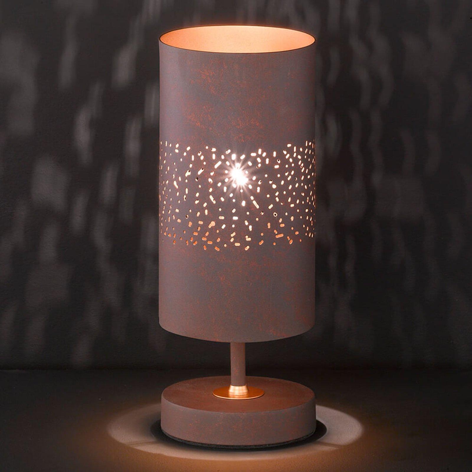 Metallbordlampe Ancona i brun antikk