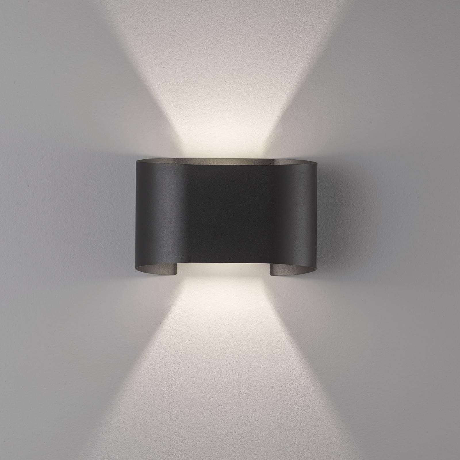 LED-vegglampe Wall, 2 lyskilder, rund, svart