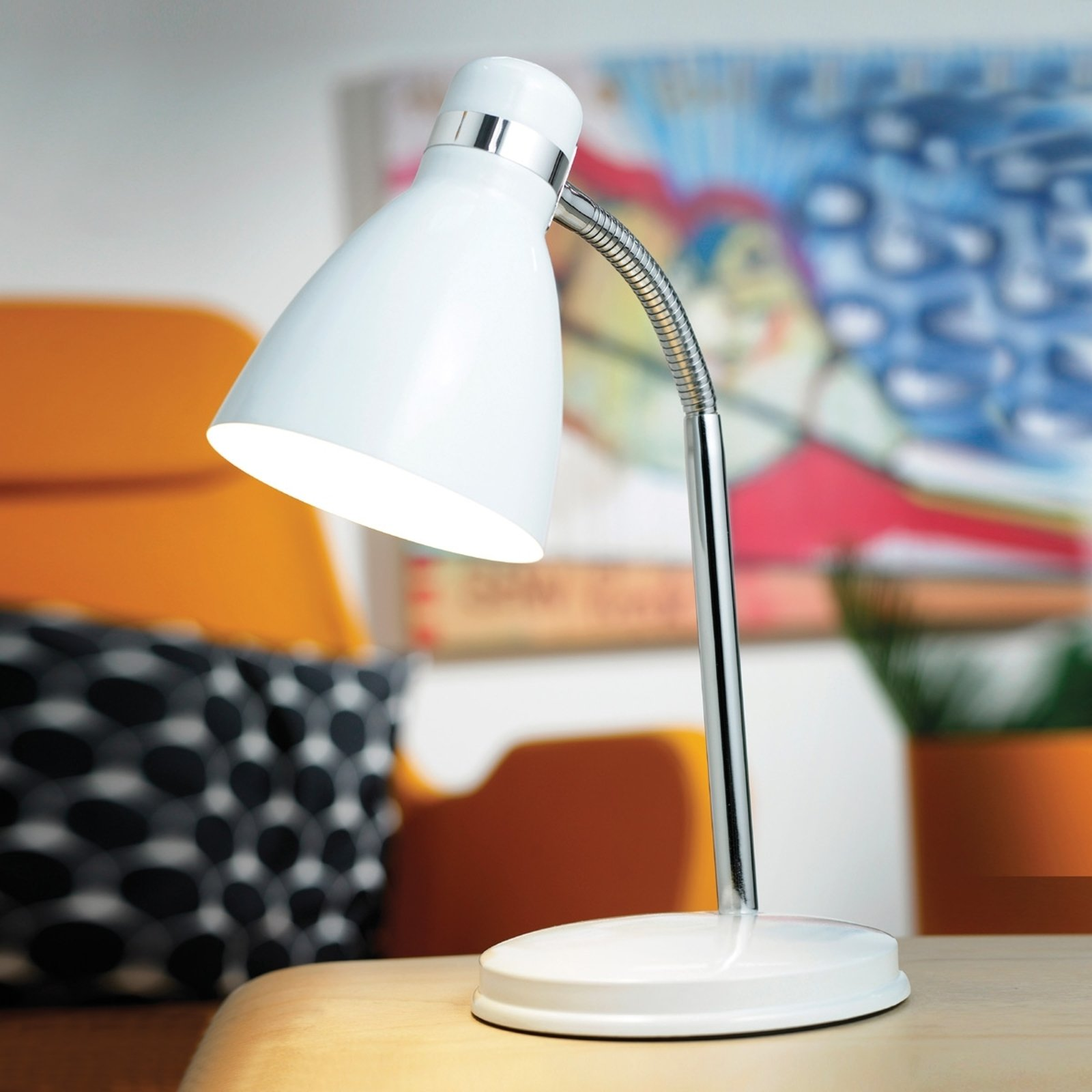 Moderne CYCLONE bordlampe i hvitt