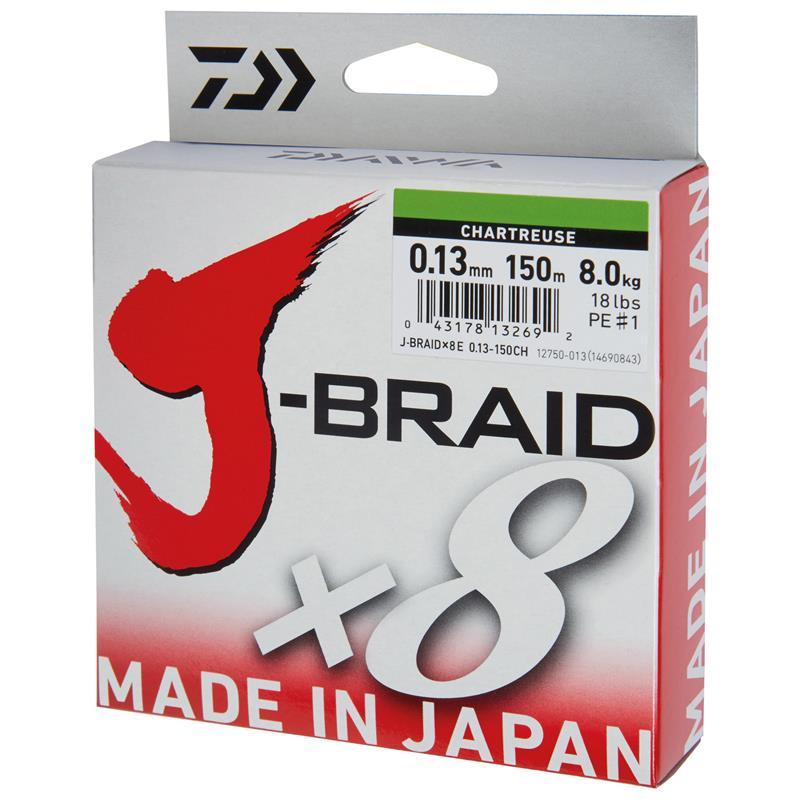 Daiwa J-Braid X8 150m - 0,42mm Chartreuse
