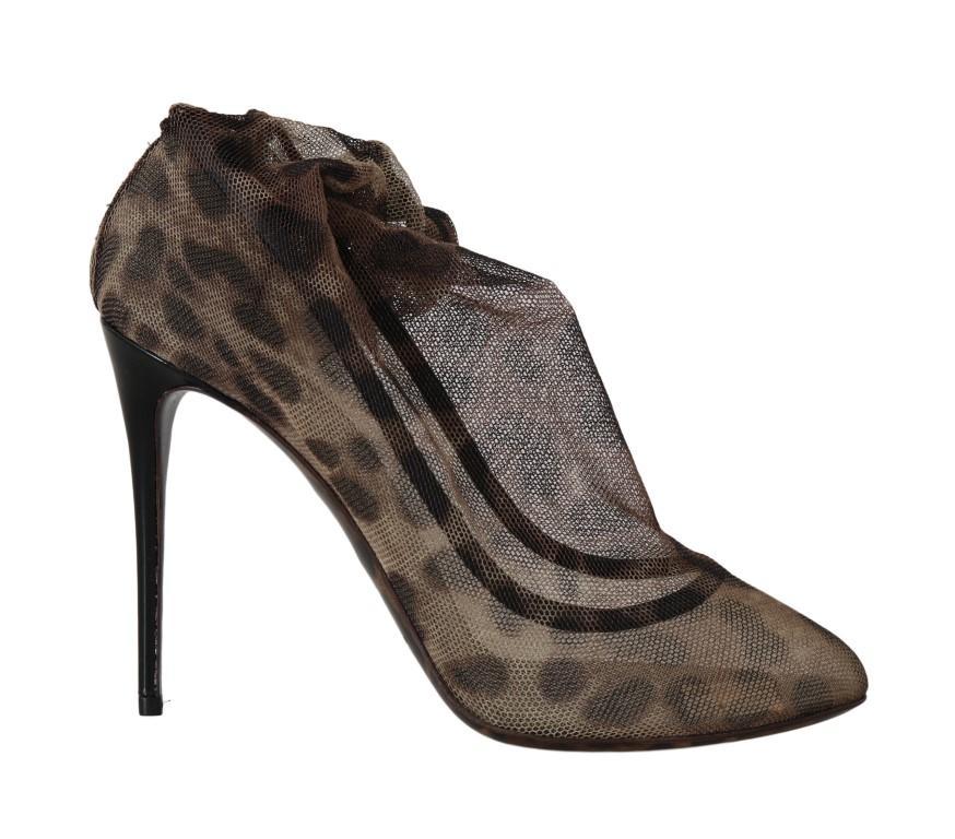Dolce & Gabbana Women's Leopard Tulle Heel Brown LA5185 - EU38/US7.5