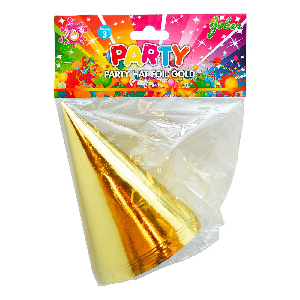 Partyhattar Guld Metallic - 6-pack