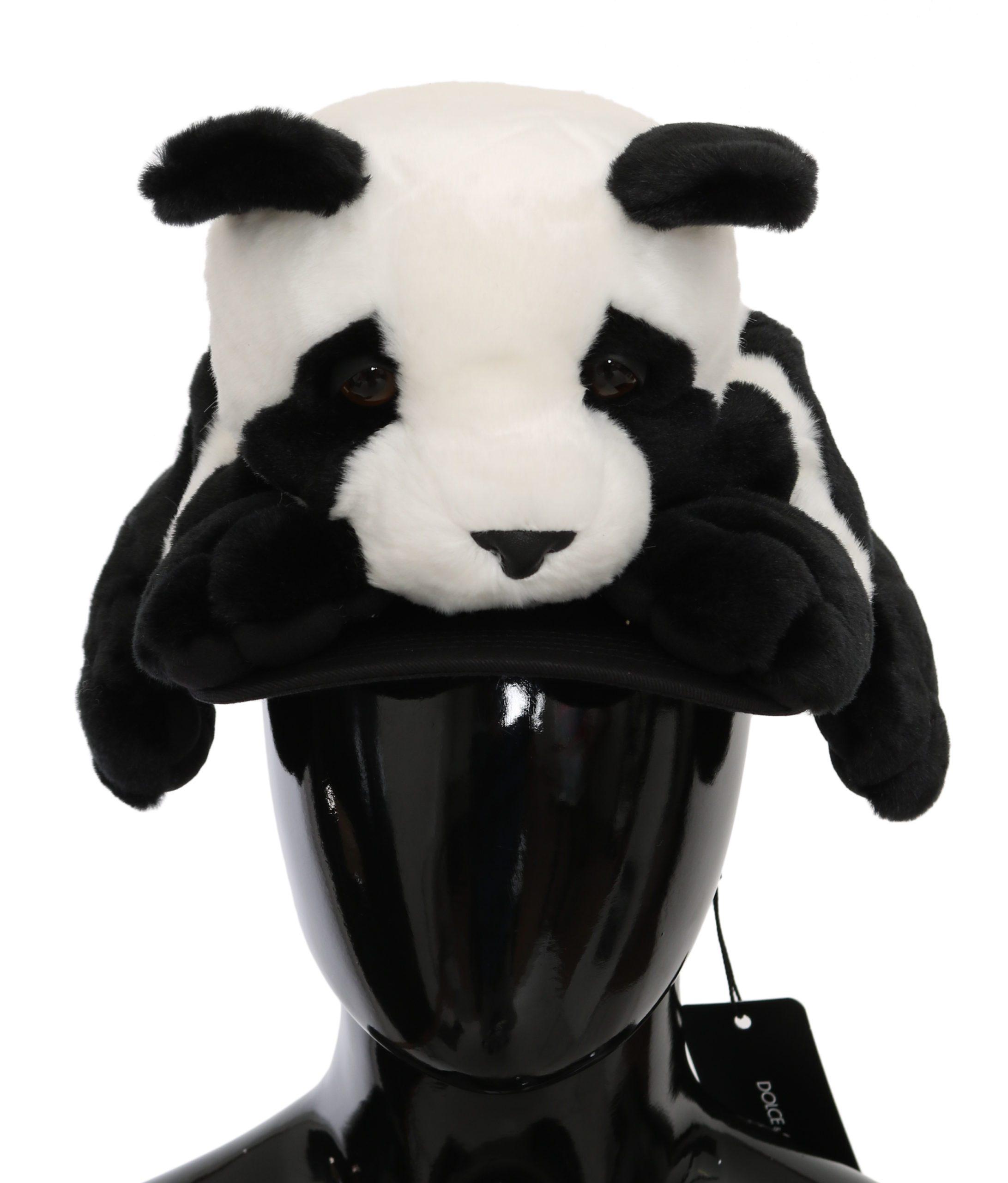 Dolce & Gabbana Women's Panda Fur Baseball Cotton Hat Black HAT9086 - 57 cm|S