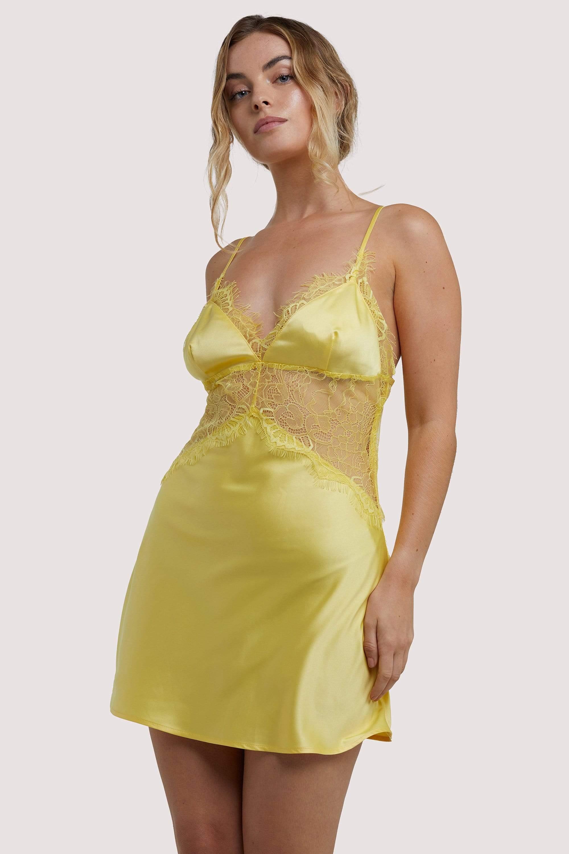 Wolf & Whistle Helena Yellow Slip Dress UK 10 / US 6