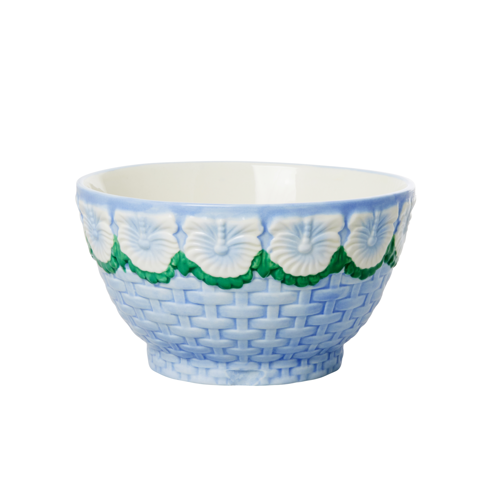 Rice - Ceramic Bowl with Embossed Flower Design - Blue