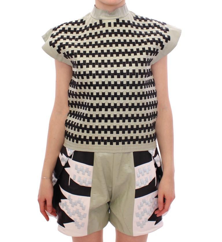 Martina Spetlova Women's Nappa Leather Zipper Top MOM10160 - IT40|S