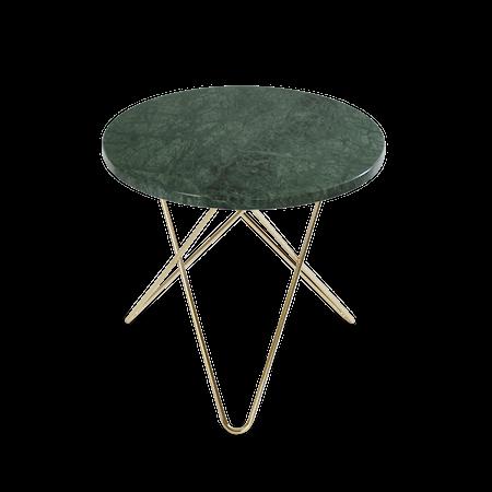 Mini O Sidebord Grønn Marmor med Messingramme Ø40