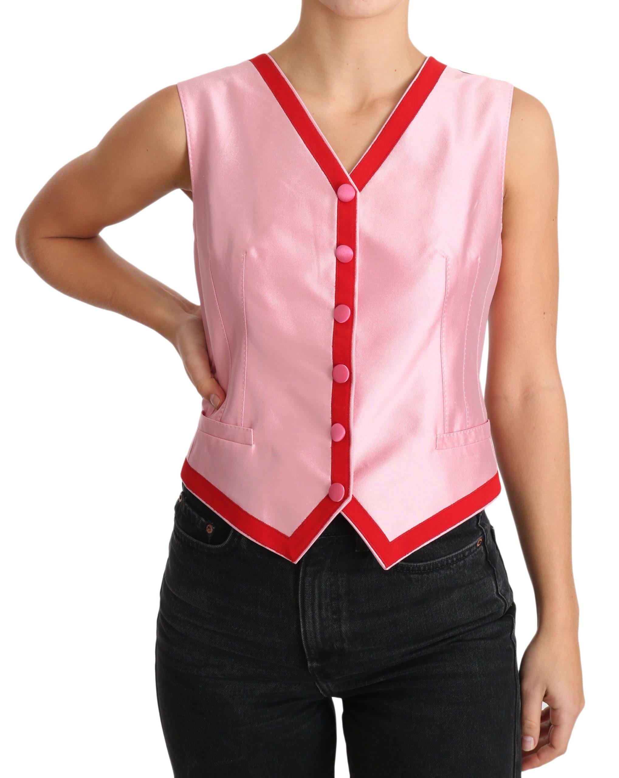 Dolce & Gabbana Women's V-neck Sleeveless Top Pink TSH3406 - IT42|M