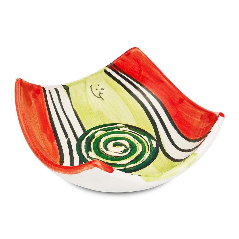 Small Square Dish 10cm by Sol'Art with Dark Green Spiral