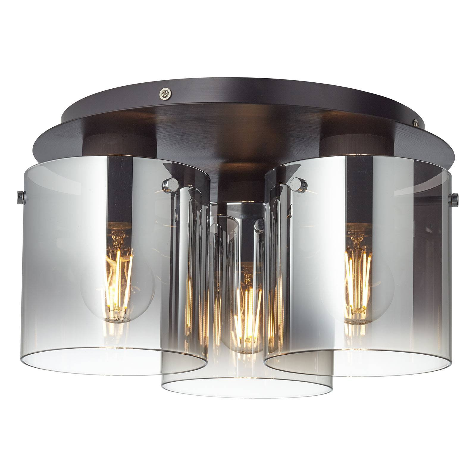 Taklampe Beth med røykglass, 3 lyskilder