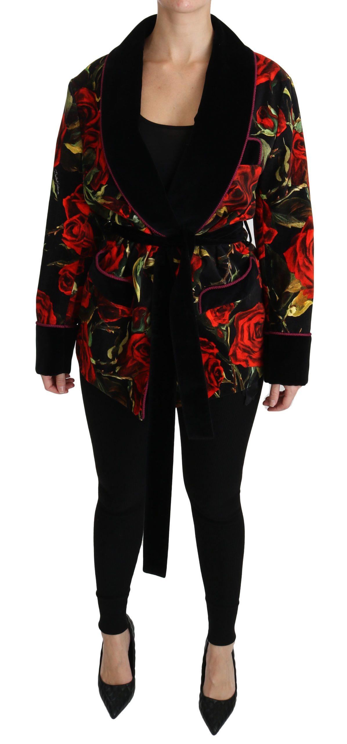 Dolce & Gabbana Women's Floral Robe Cotton Coat Black JKT2497 - IT40|S