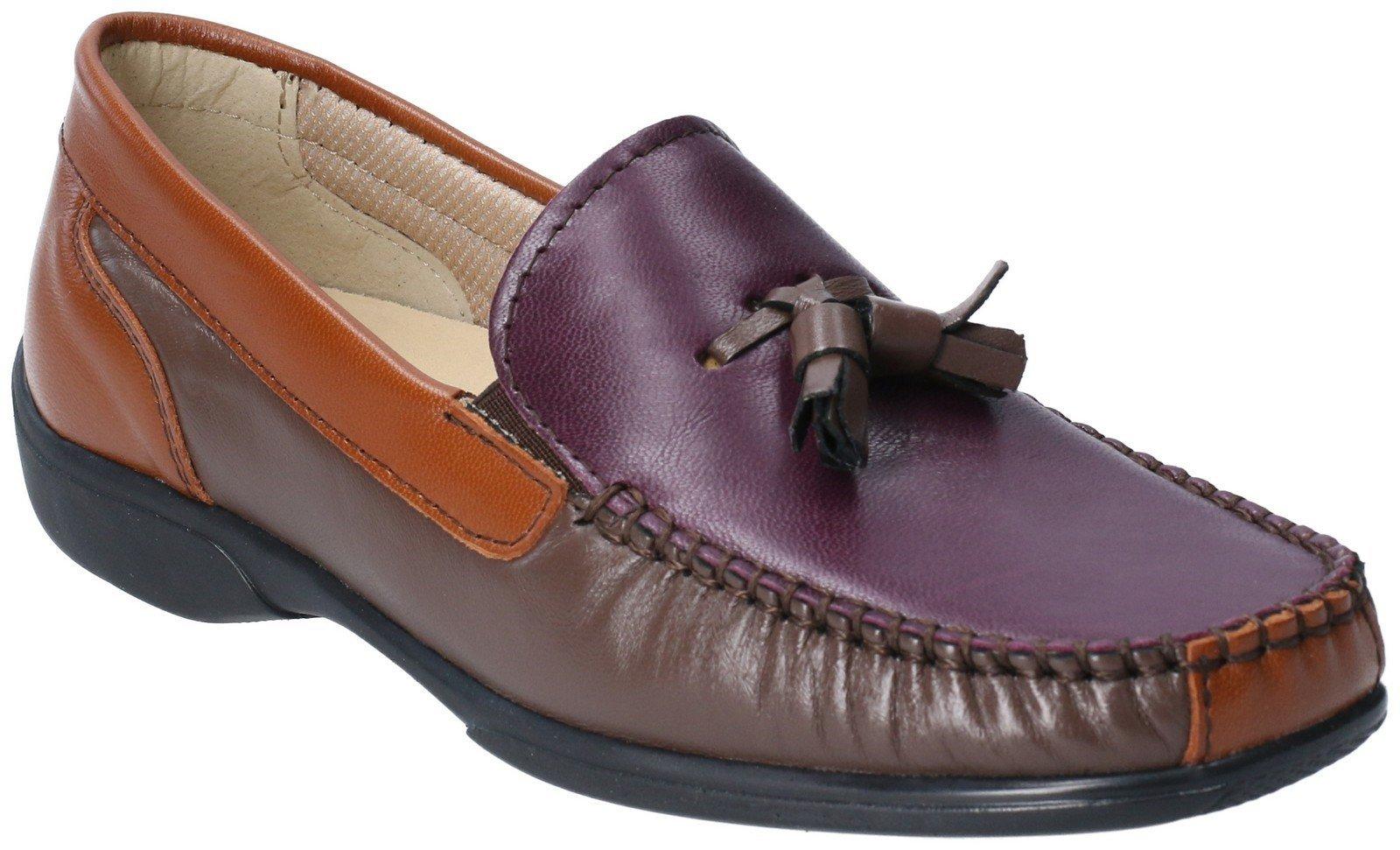 Cotswold Men's Biddlestone Slip On Loafer Shoe Various Colours 20285 - Chestnut/Purple 4