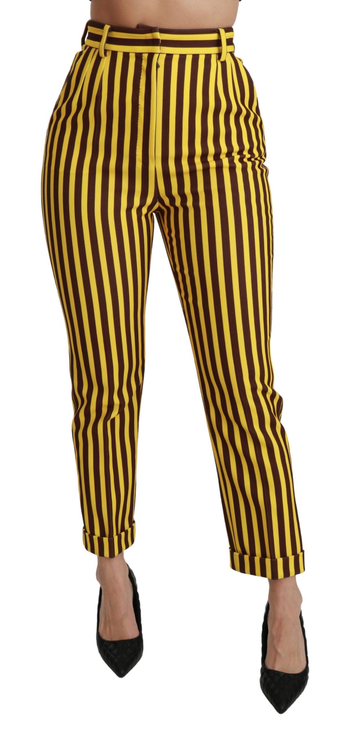 Dolce & Gabbana Women's Striped High Waist Skinny Trouser Yellow PAN70928 - IT40|S