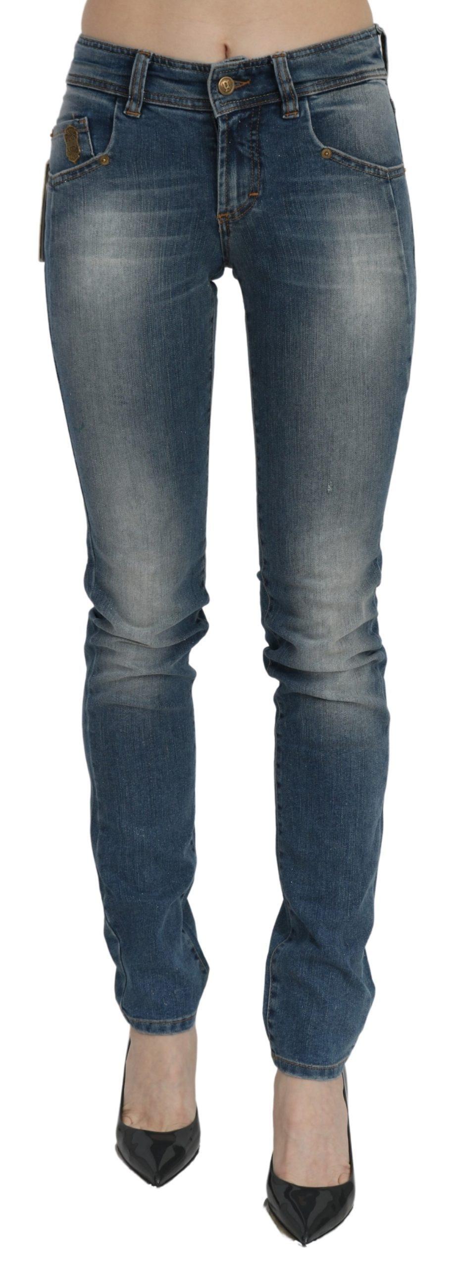 John Galliano Women's Washed Mid Waist Slim Fit Denim Jeans Blue PAN70448 - W26