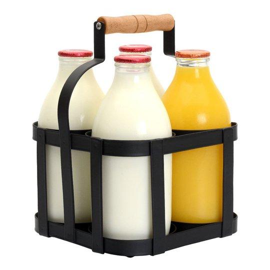 Mjölktråg med Handtag - Ställ för 4 flaskor