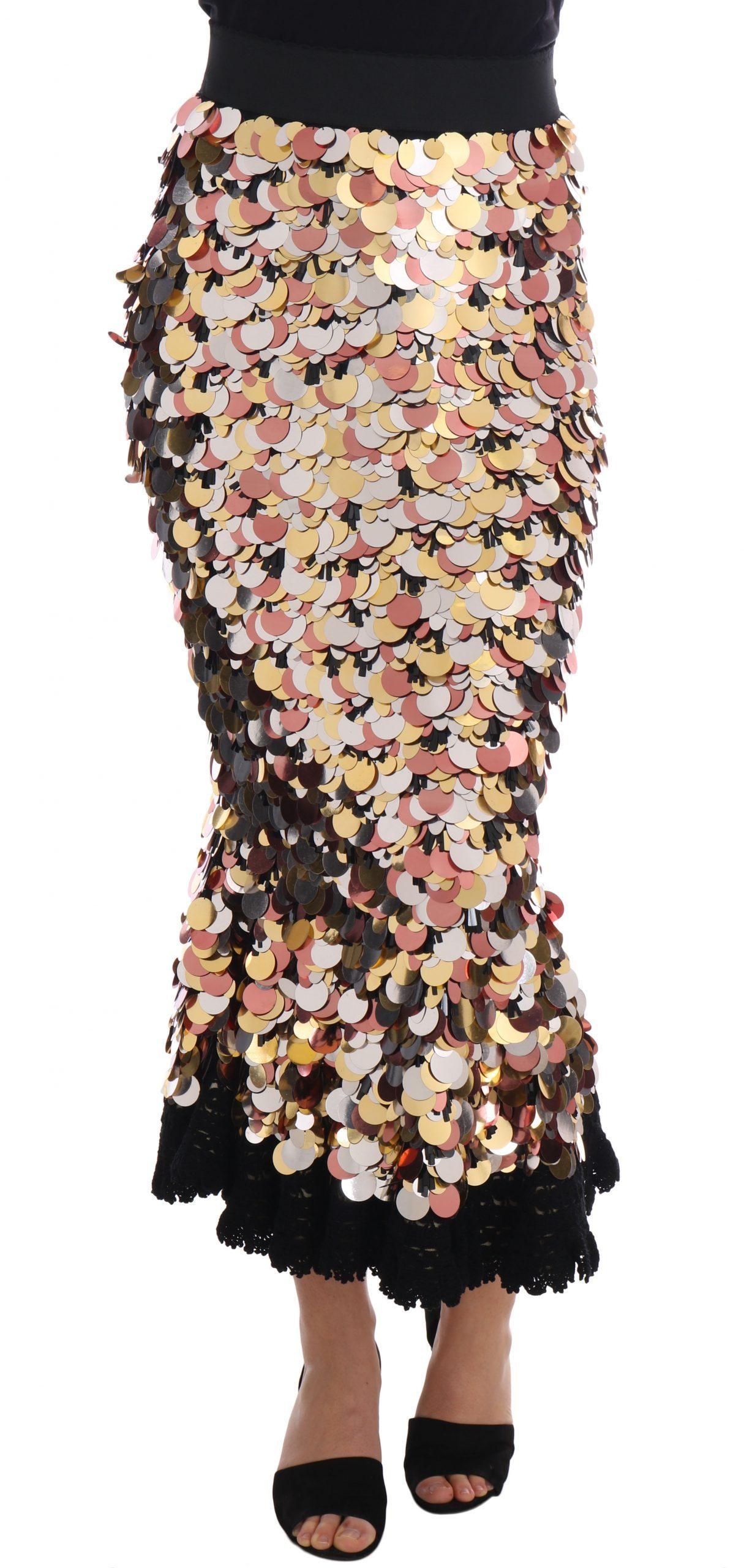 Dolce & Gabbana Women's Sequined Peplum High Waist Skirt Black SKI1130 - IT38|XS
