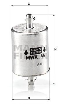 Polttoainesuodatin MANN-FILTER MWK 44