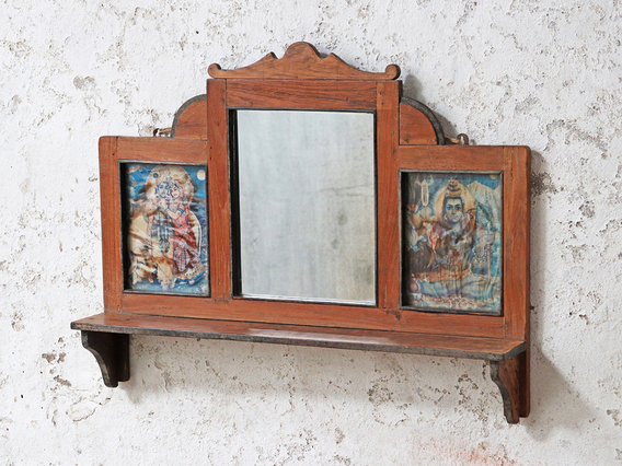 Decorative Indian Wall Mirror Brown
