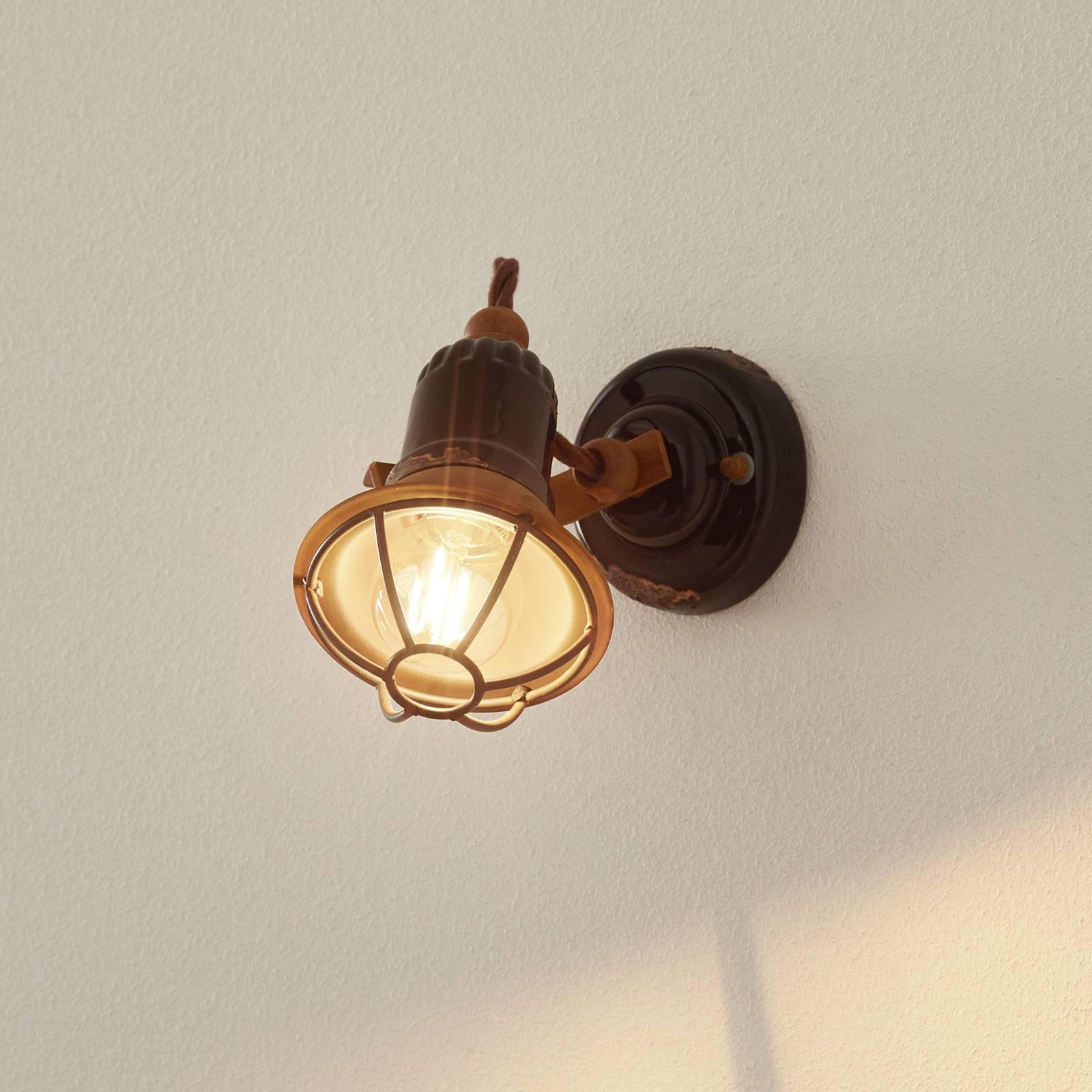 C1675/1-seinälamppu, kori, 1-lamp., musta