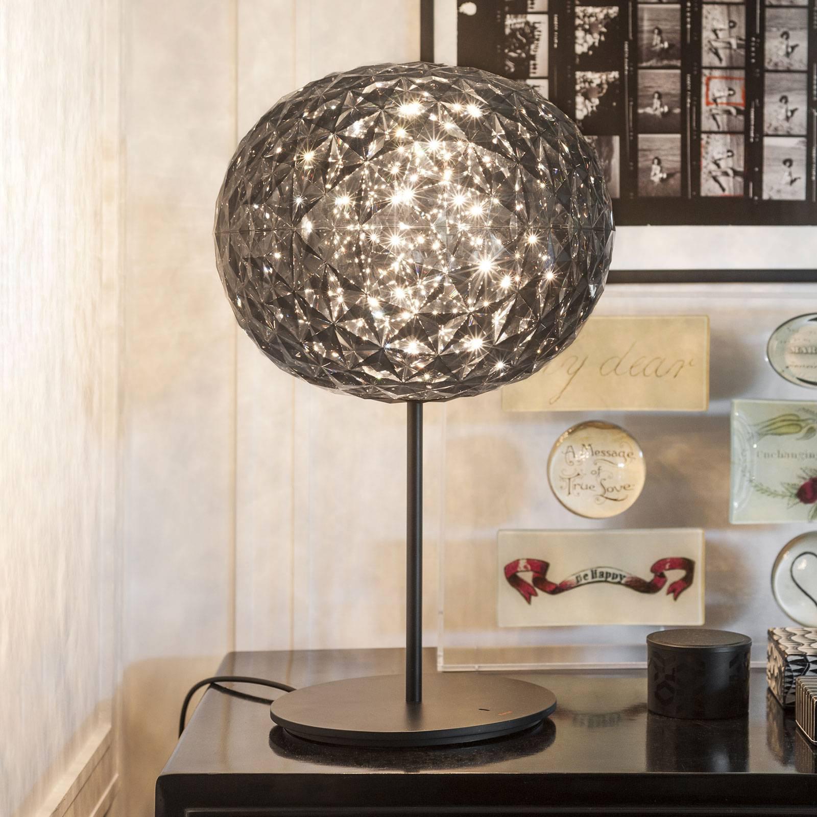LED bordlampe Planet med berøringsdimmer, røykgrå