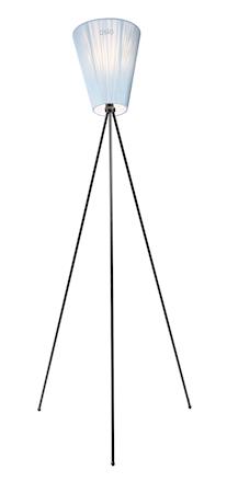 Oslo Wood golvlampa – Ljusblå skärm/Svart fot