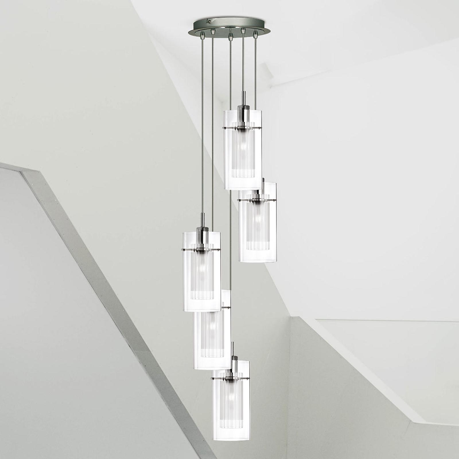 5-lamp. koristeellinen pyöreä DUO 1-riippuvalaisin