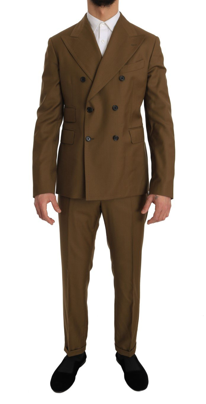 Dolce & Gabbana Men's Wool Double Breasted Slim Fit Suit Brown JKT1192 - IT48 | M