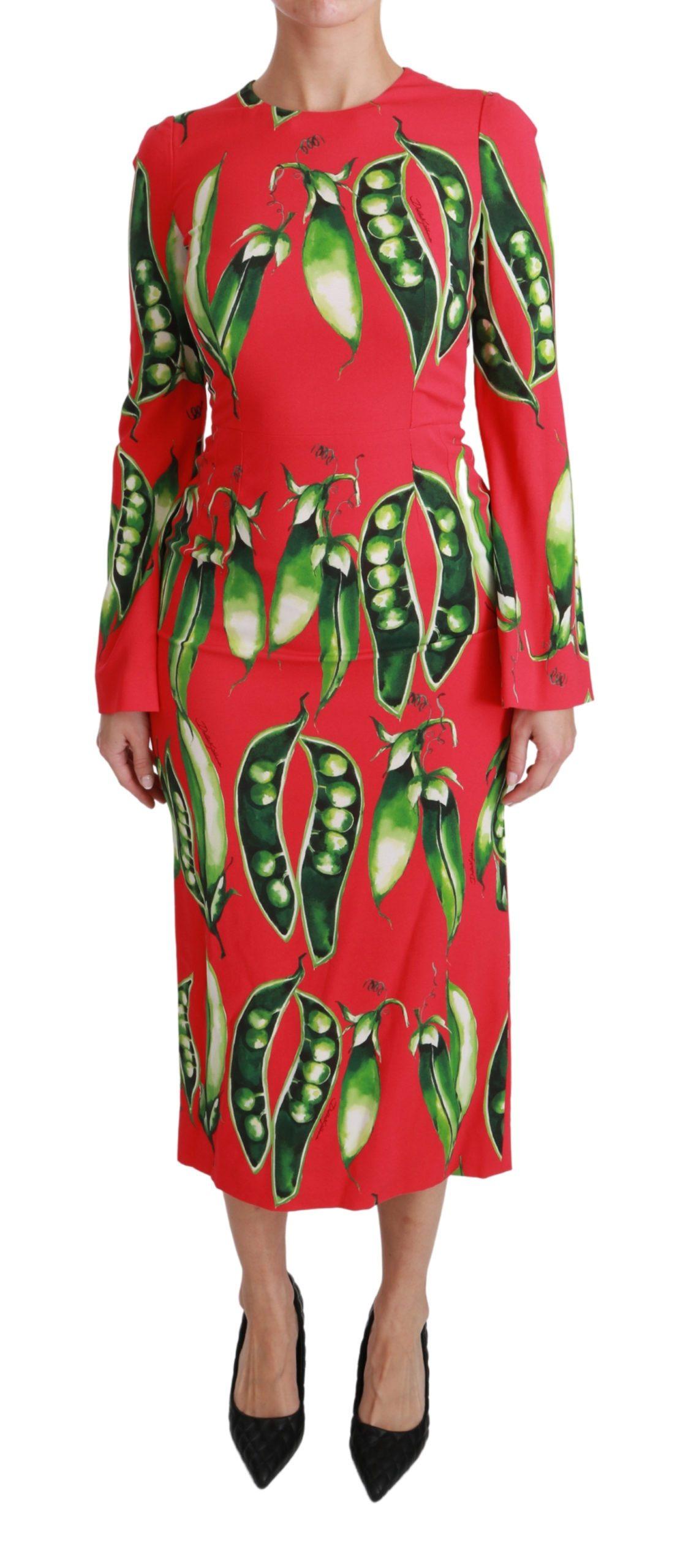 Dolce & Gabbana Women's Snap Pea Print LS Midi Dress Red - IT36   XS
