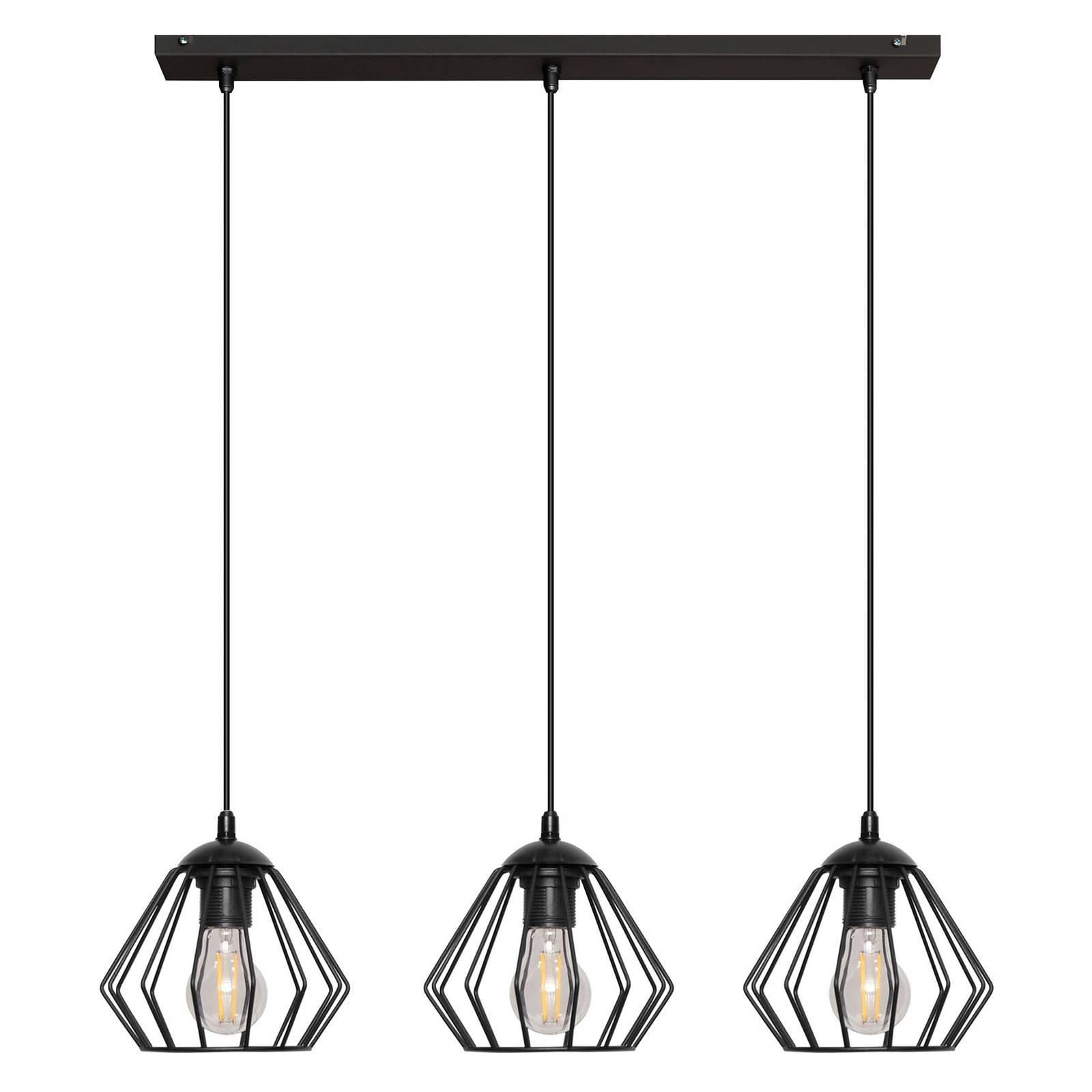 Riippuvalo Agat musta, 3-lamppuinen, pitkä