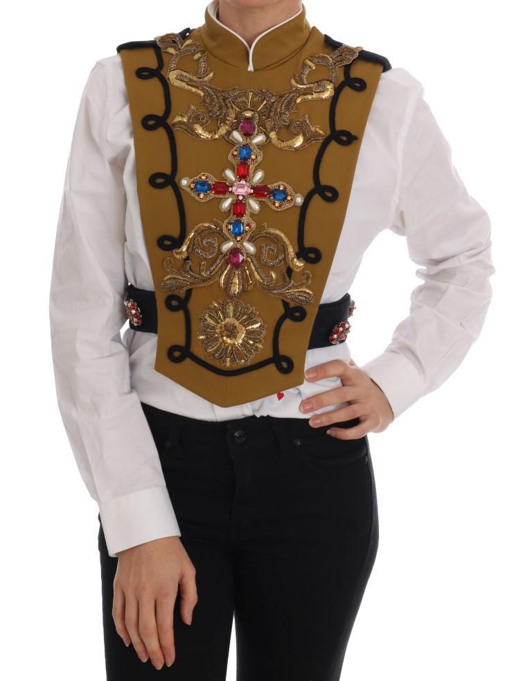 Dolce & Gabbana Men's Crystal Cross Vest Jacket Yellow TSH1766 - IT40|S