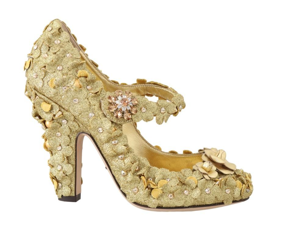 Dolce & Gabbana Women's Floral Crystal Mary Janes Pumps Gold LA4329 - EU36/US5.5
