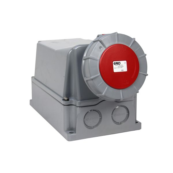 Garo UIV 3125-6 S + RU Seinäpistorasia IP67, 4-napainen, 125A Punainen, 6 h