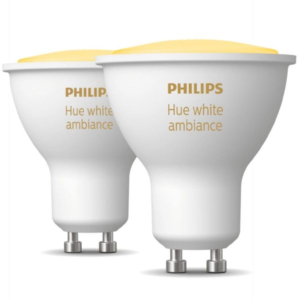 Philips Hue White Ambiance LED-valo 5W, GU10, 2 kpl/pakkaus