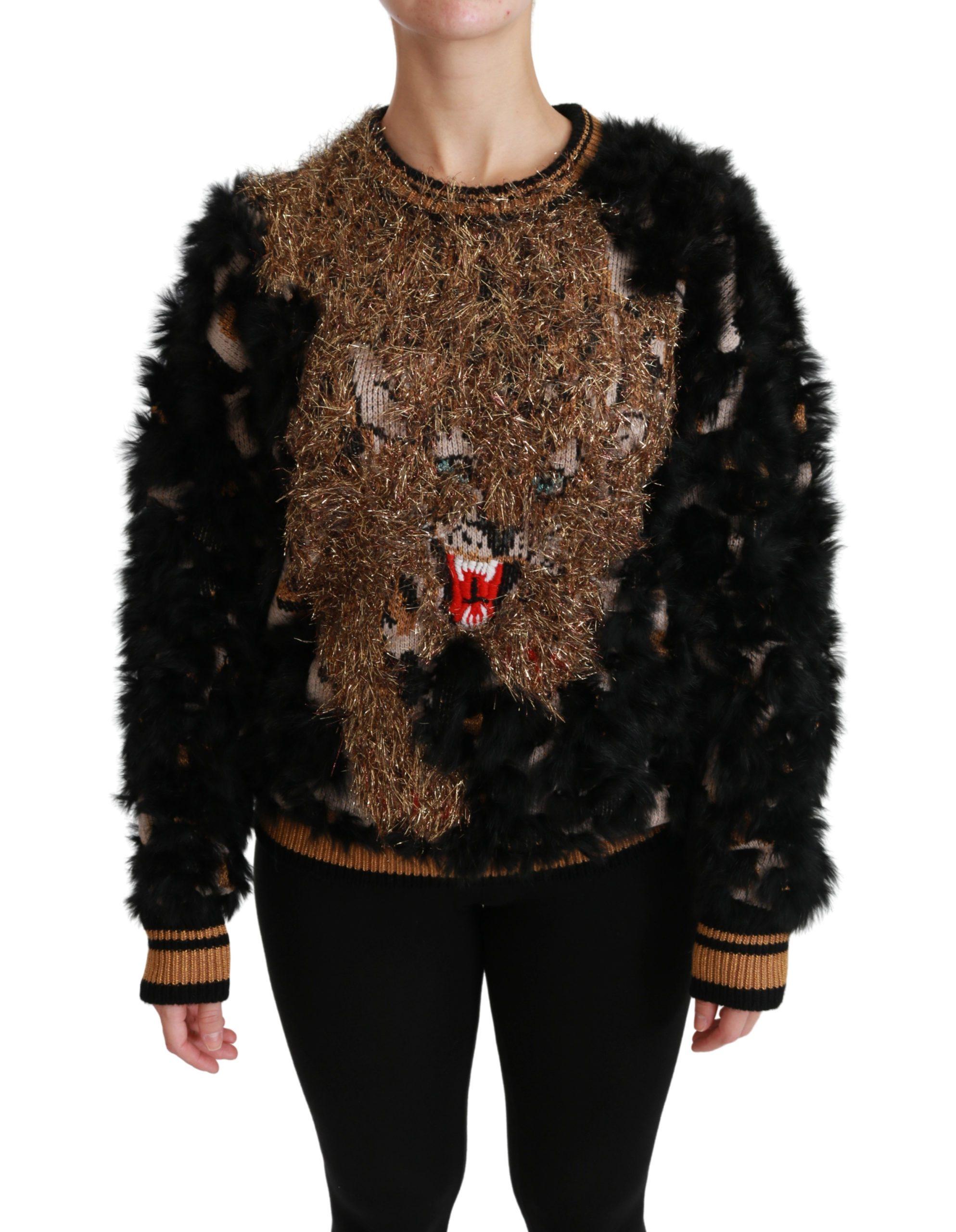 Black Rabbit Fur Pullover Wool Sweater - IT42|M