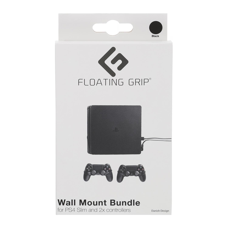 Floating Grip Playstation 4 Slim and Controller Wall Mount - Bundle (Black)