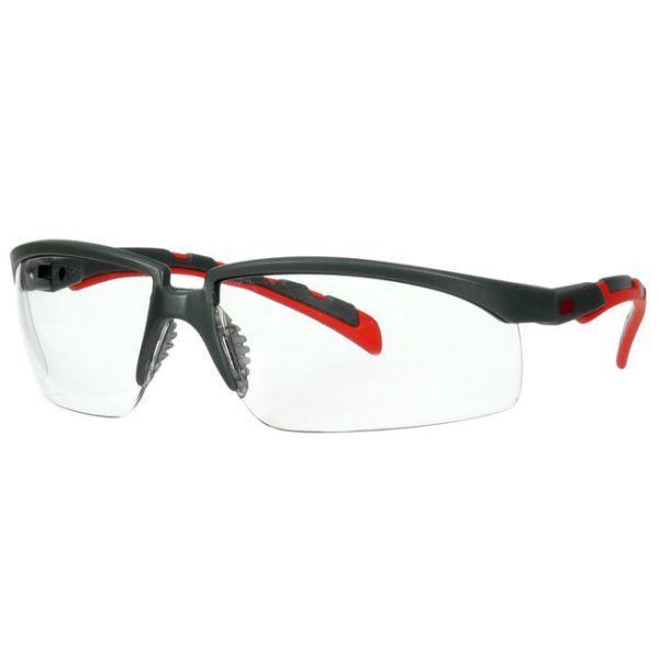 3M Solus 2000 Vernebriller Grå/rød brillestang, klar linse