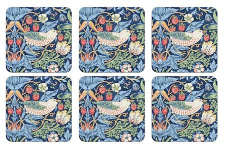Morris Glassunderlag Strawberry Thief Blå 6-pakning