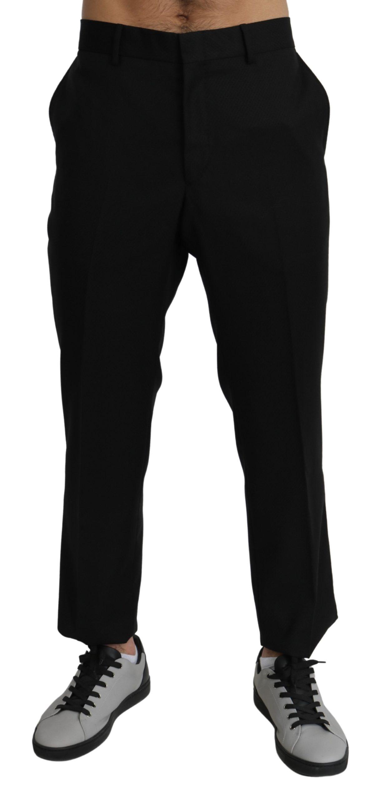 Dolce & Gabbana Men's Cotton Wool Formal Dress Trouser Black PAN71277 - IT56 | XL
