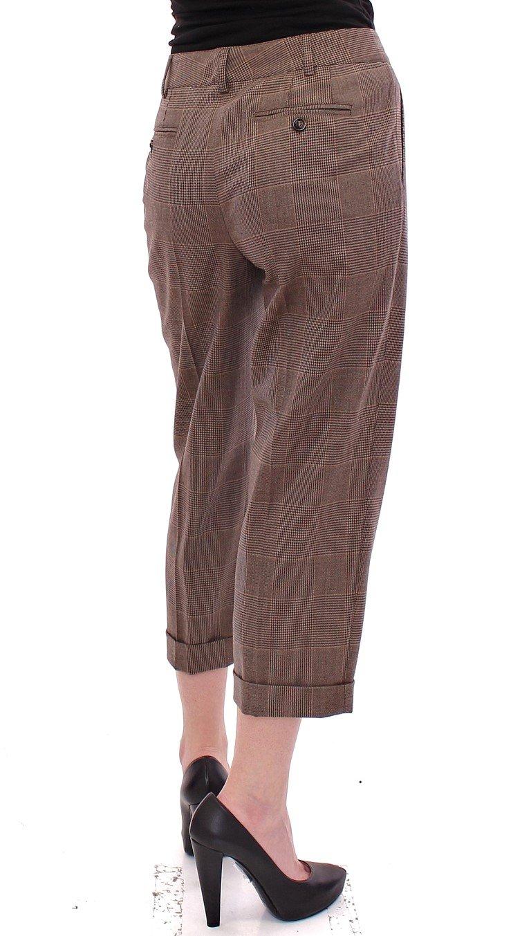 Dolce & Gabbana Women's Virgin Wool Checkered Cropped Trouser Brown GSS10047 - IT40|S
